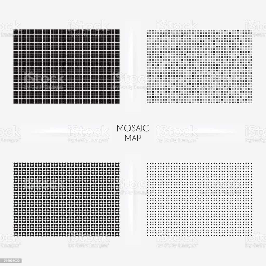 Colorado maps - Mosaic squarred and dotted vector art illustration