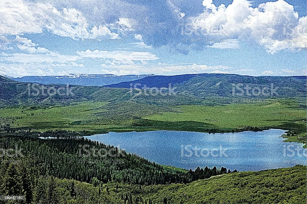 Colorado Mountain View From A Scenic Overlook vector art illustration
