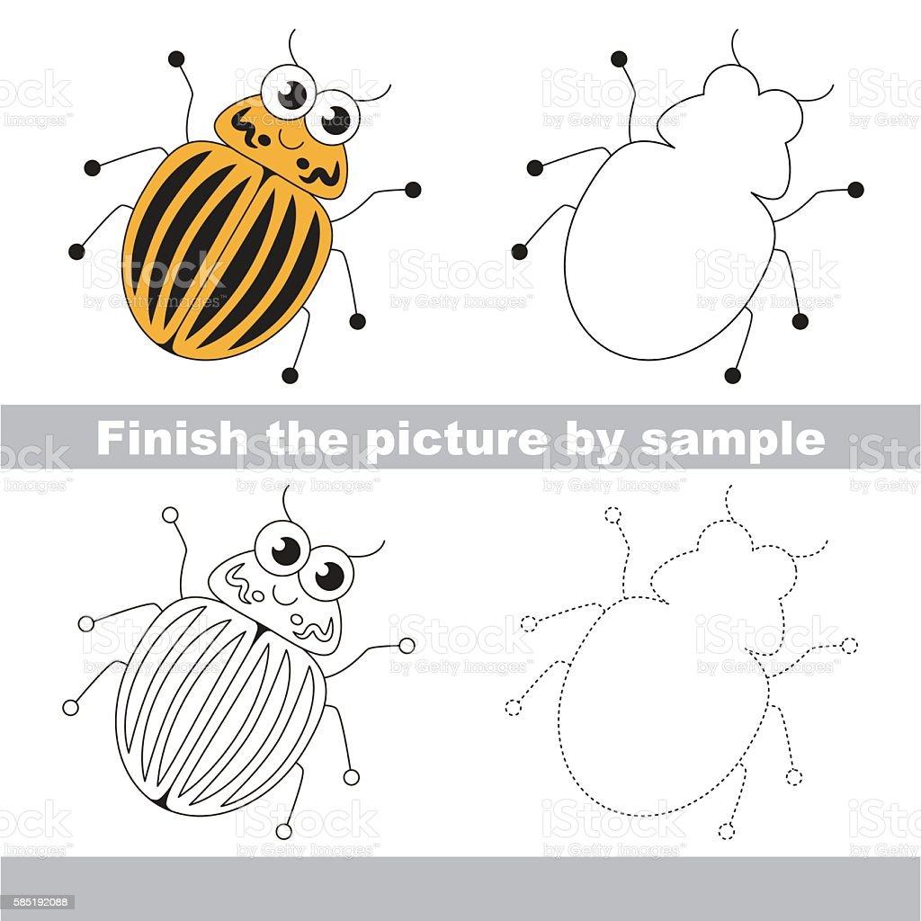 Colorado potato beetle. Drawing worksheet. vector art illustration