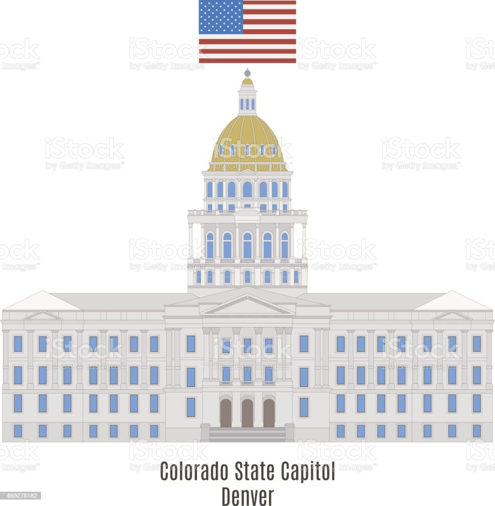 Colorado State Capitol Building, Denver, United States of America vector art illustration