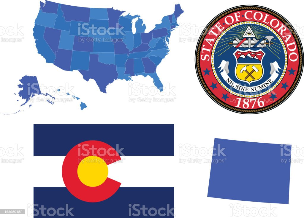 Colorado state set vector art illustration