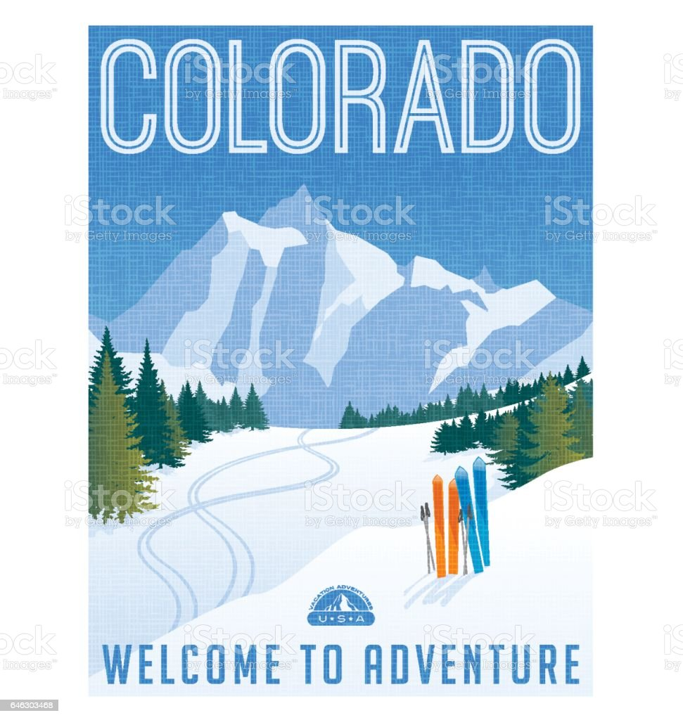 Colorado travel poster. Vector illustration of skiing in rocky mountains. vector art illustration