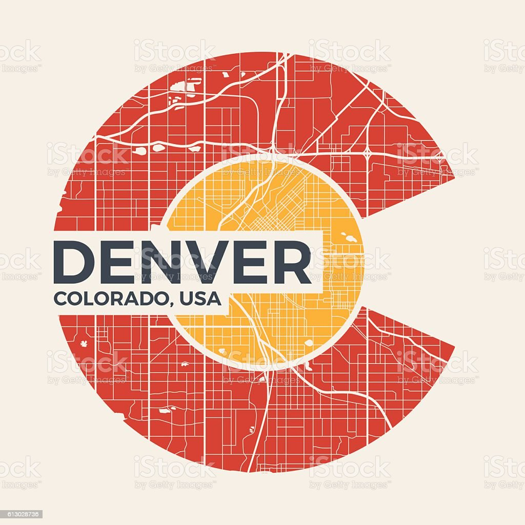 Colorado t-shirt graphic design with denver city map. vector art illustration