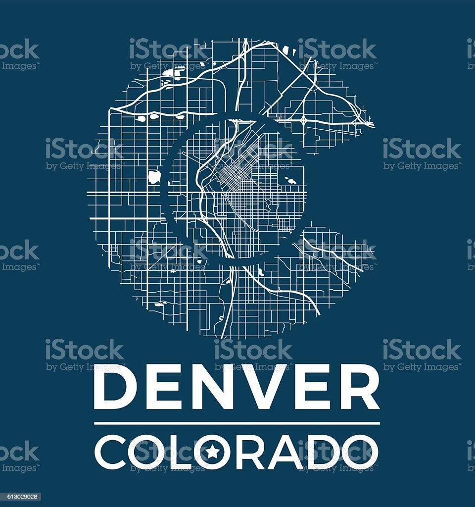 Colorado t-shirt graphic design with denver city map. vector art illustration