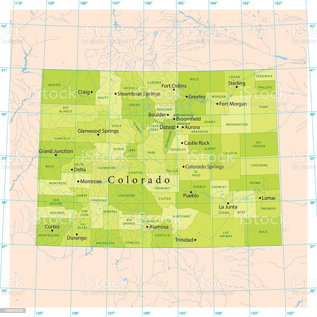 Colorado Vector Map vector art illustration