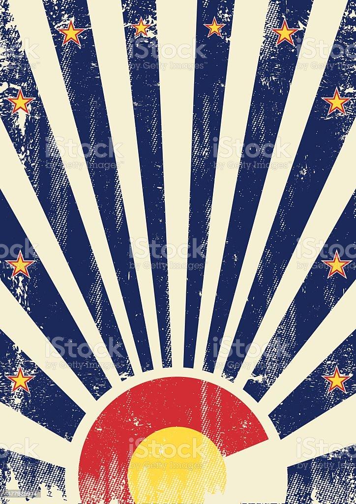 Colorado vintage sunbeams vector art illustration