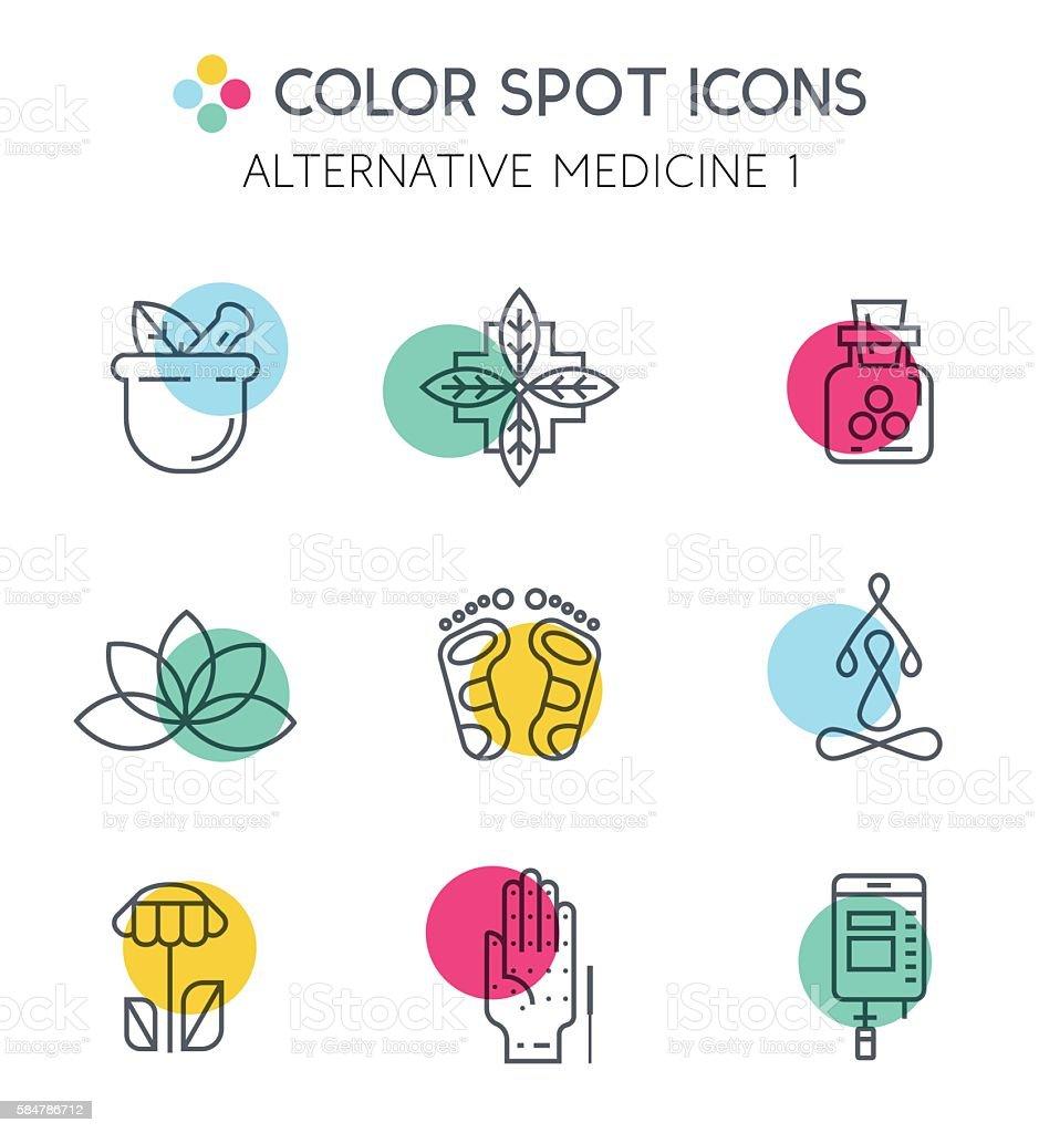 Colorblock Alternative Medicine icons. vector art illustration