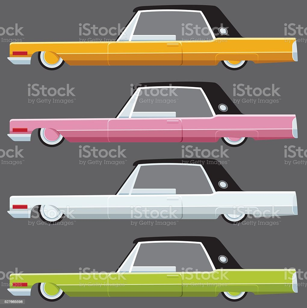 Colored American car set vector art illustration