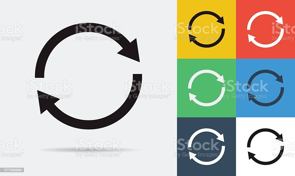 Colored and monochrome two rounded arrows icon vector art illustration