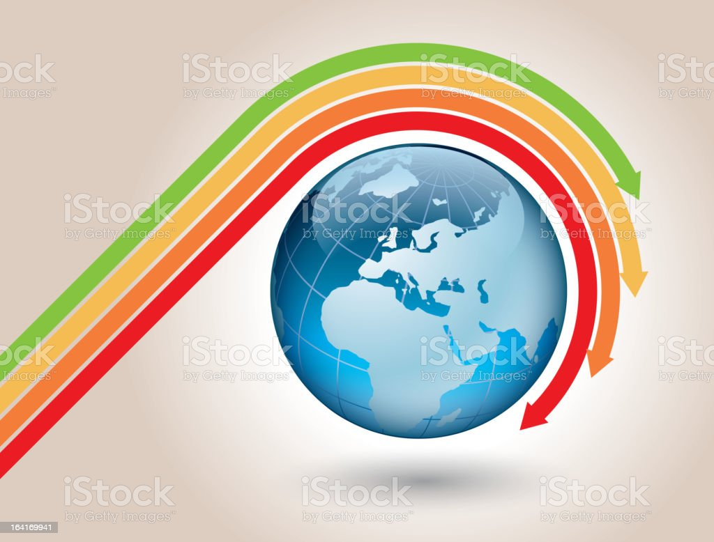 Colored arrows around the earth royalty-free stock vector art