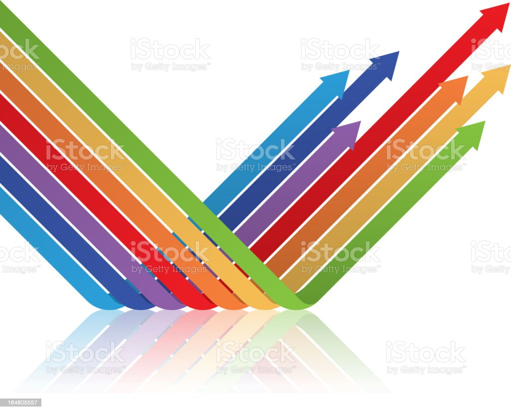 Colored arrows isolated on white vector art illustration