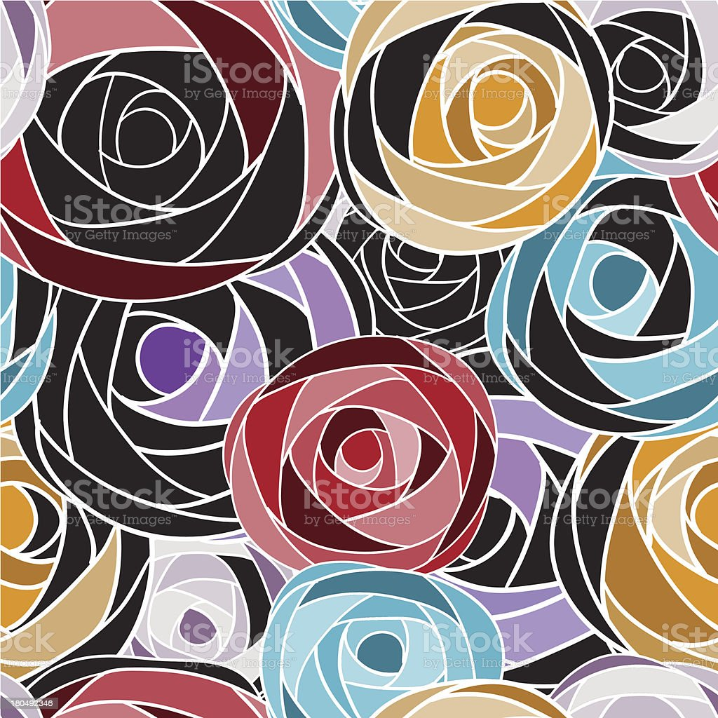 Colored art rose seamless pattern. royalty-free stock vector art