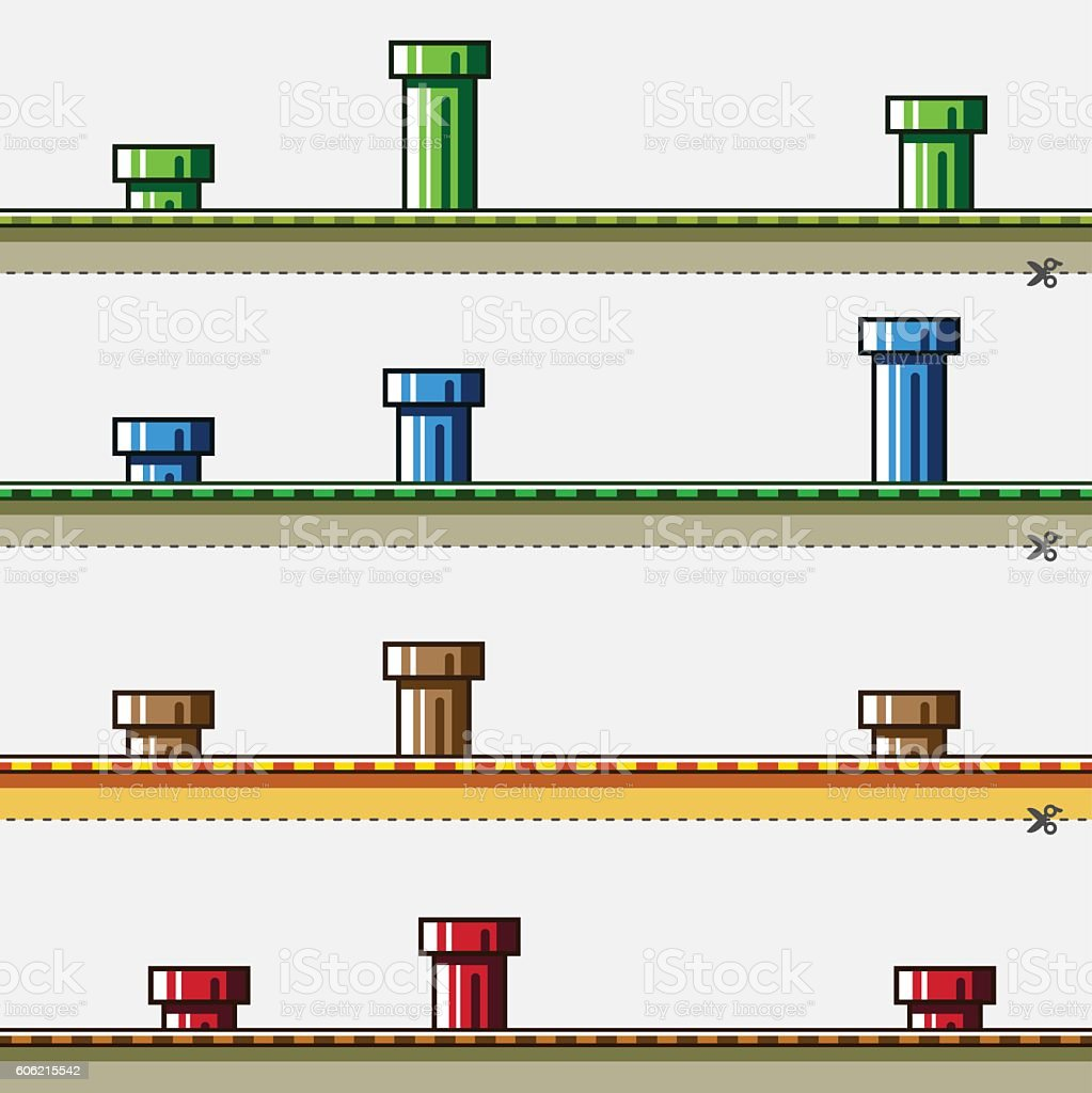 Colored backgrounds with pipes for simple game vector art illustration