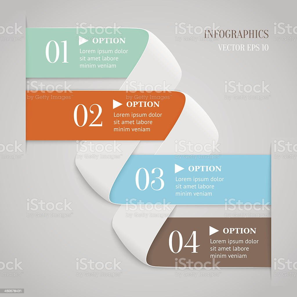 Colored bended lines with numbers. royalty-free stock vector art