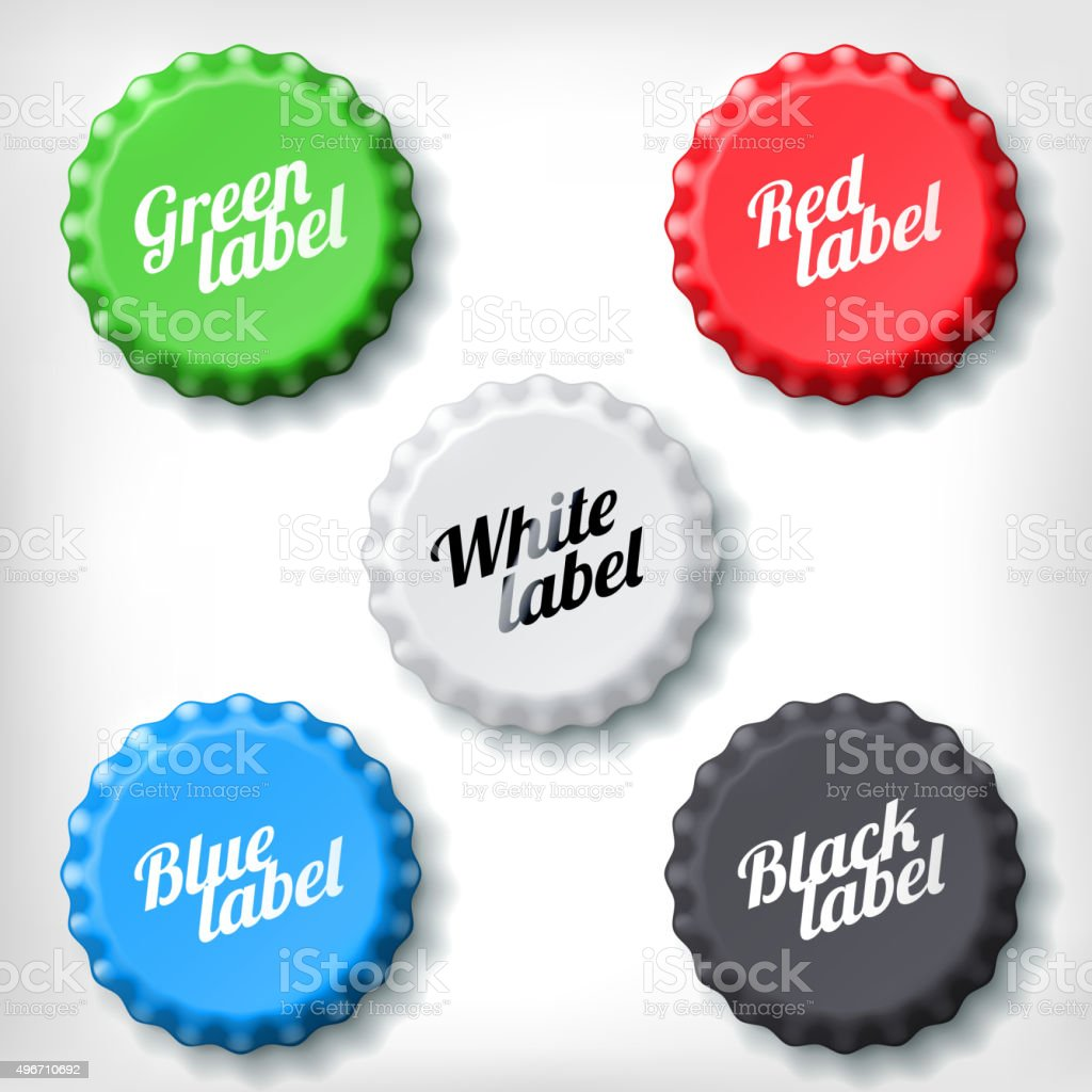 Colored bottle caps with writings vector art illustration