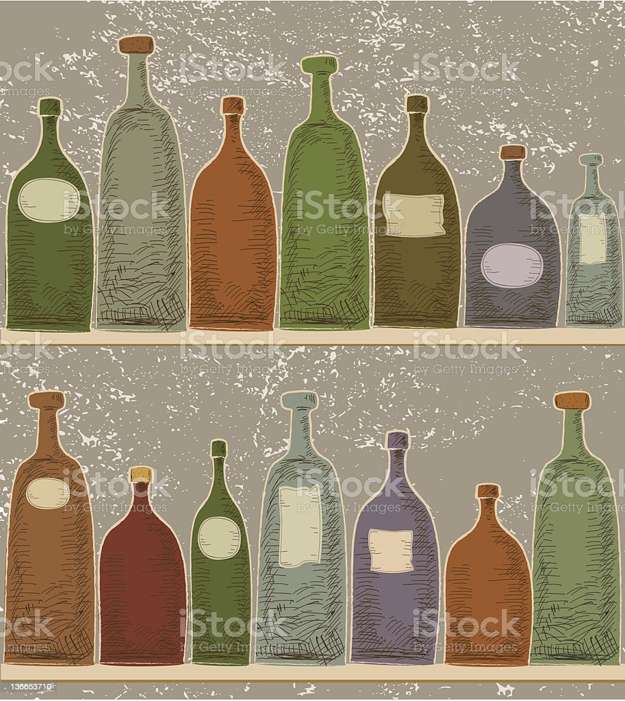 Colored Bottles On Shelves In Vintage Style royalty-free stock vector art