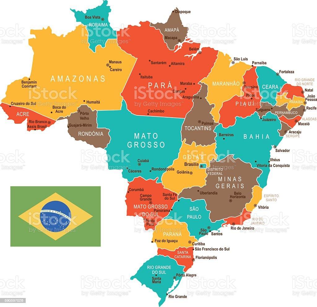 Colored Brazil Map vector art illustration
