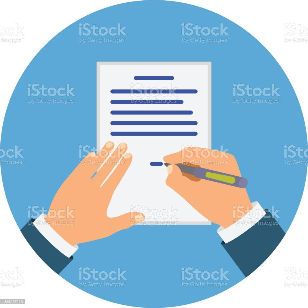 Colored Cartooned Hand Signing Contract vector art illustration