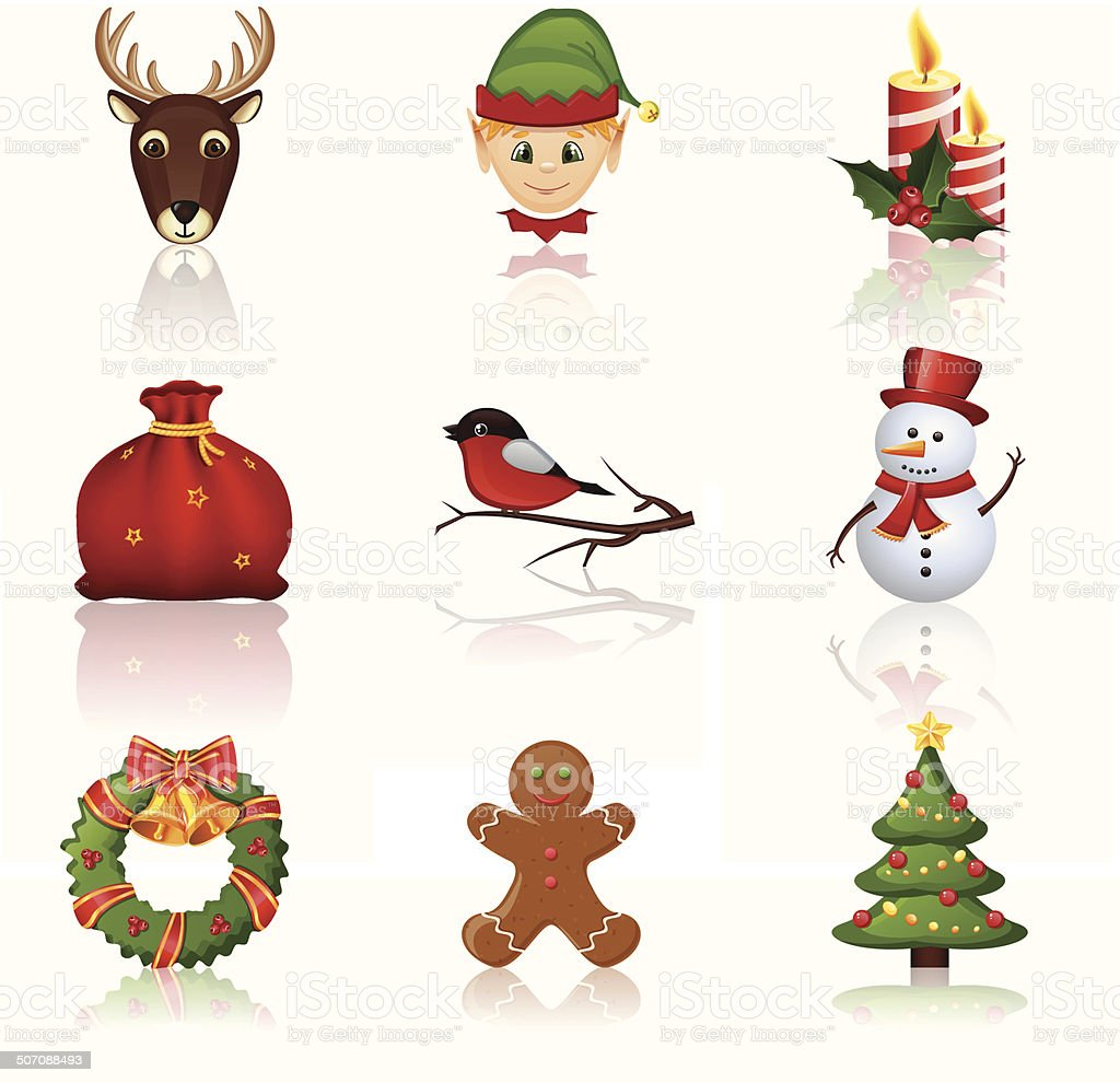 Colored Christmas and New Year icons. Vector illustration. royalty-free stock vector art