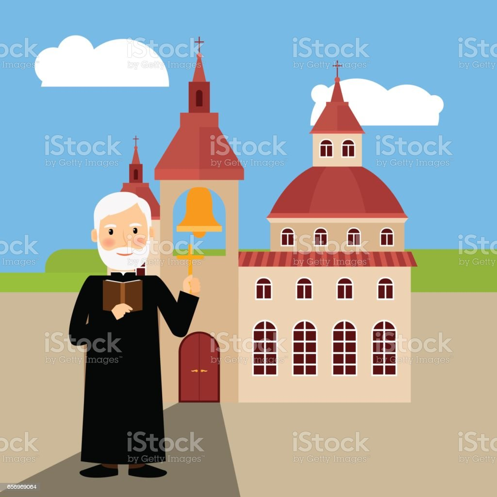 Colored church building and pastor vector art illustration