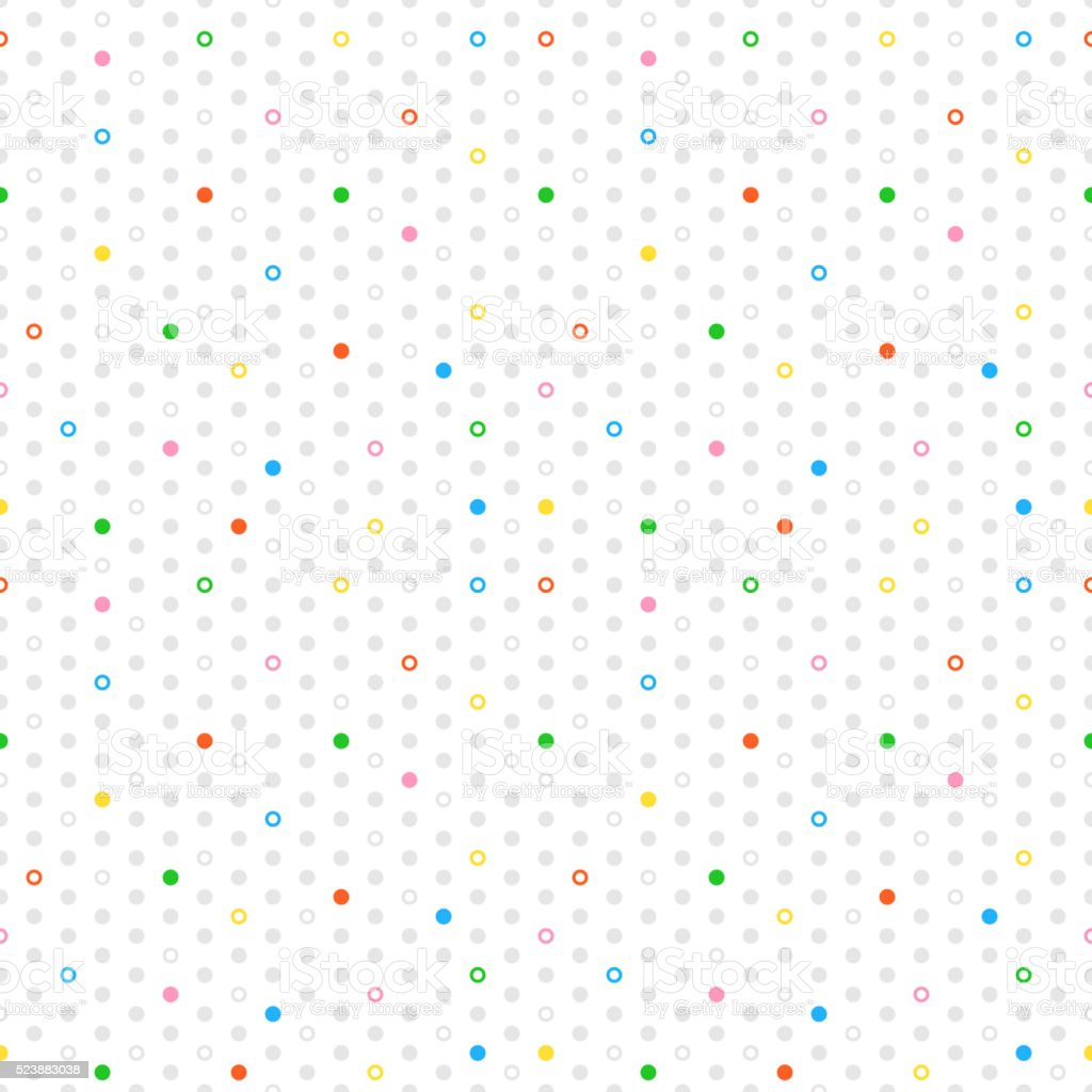 Colored circles, donuts seamless pattern vector art illustration