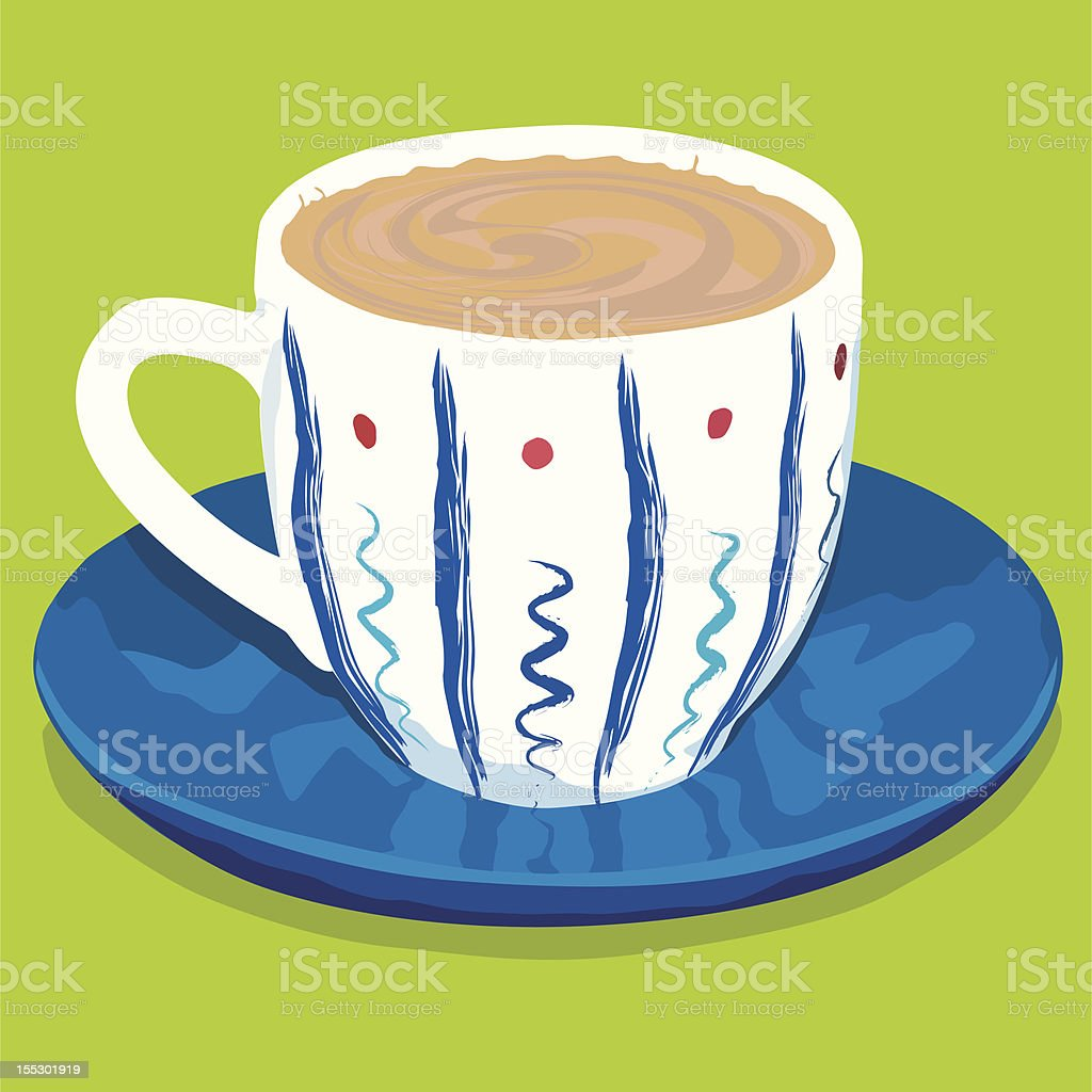 Colored coffee cup vector art illustration