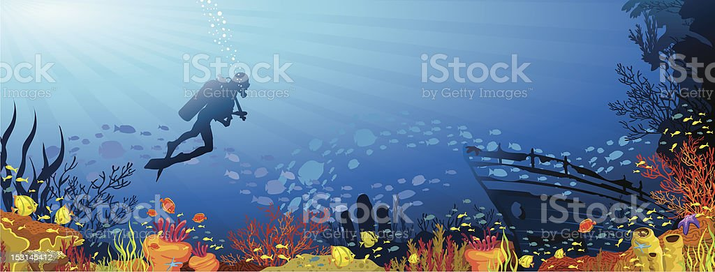 Colored coral reef with fish and diver royalty-free stock vector art
