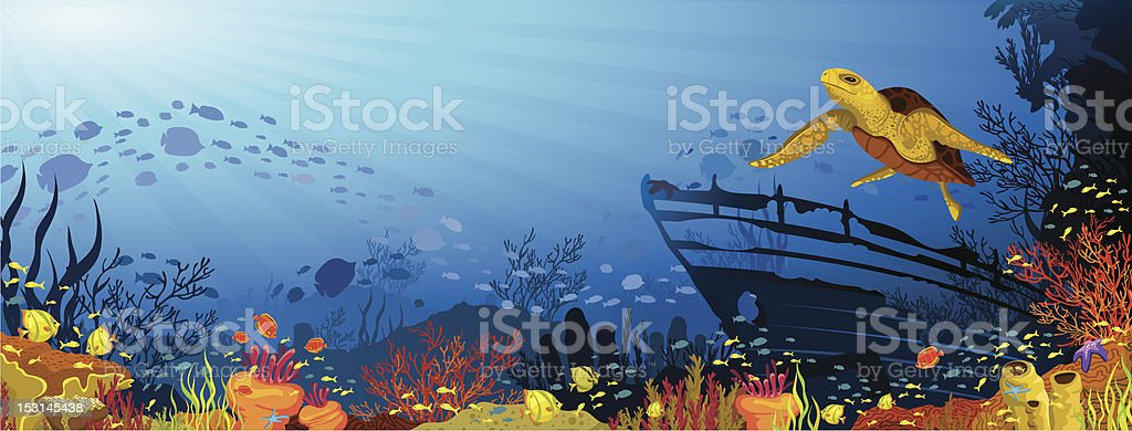 Colored coral reef with yellow turtle vector art illustration