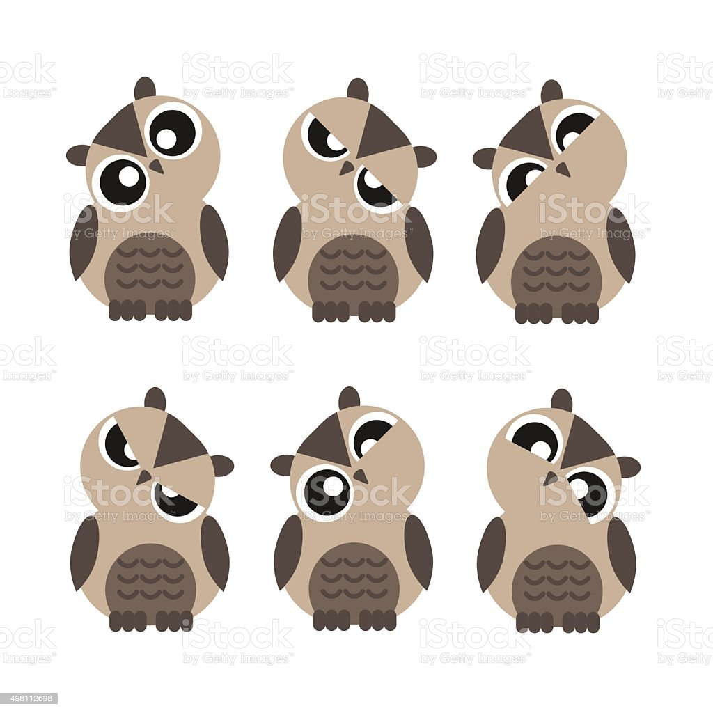 colored cute owls set of flat icon vector art illustration