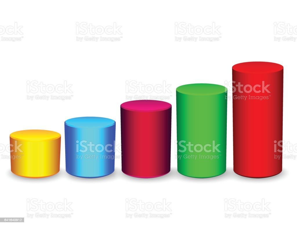 Colored cylindrical bar graph vector art illustration