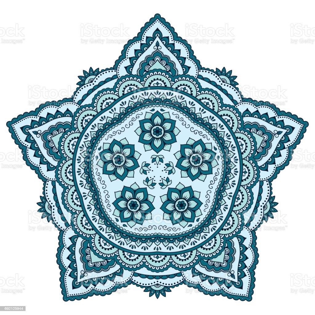 Colored decoration in mandala form. Mehndi style. Decorative pattern in oriental style. Eastern ethnic pattern. vector art illustration
