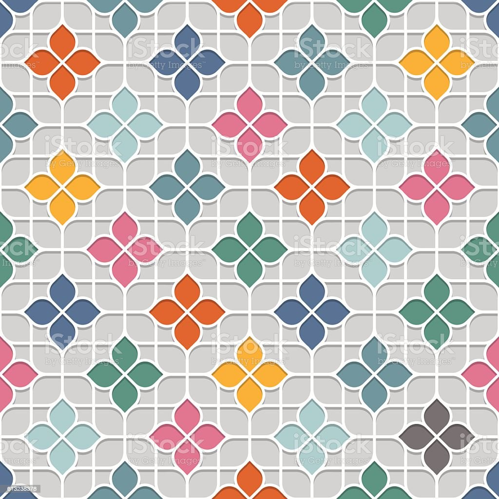 Colored Delicate Seamless Flower Pattern in Oriental style vector art illustration