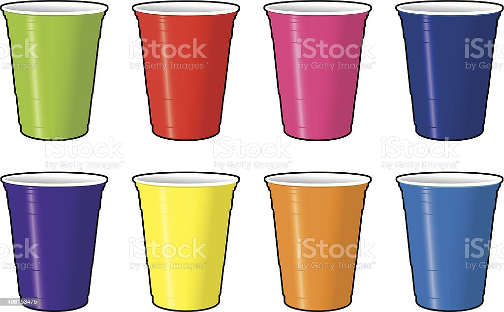 Colored Disposable Beer Cups vector art illustration