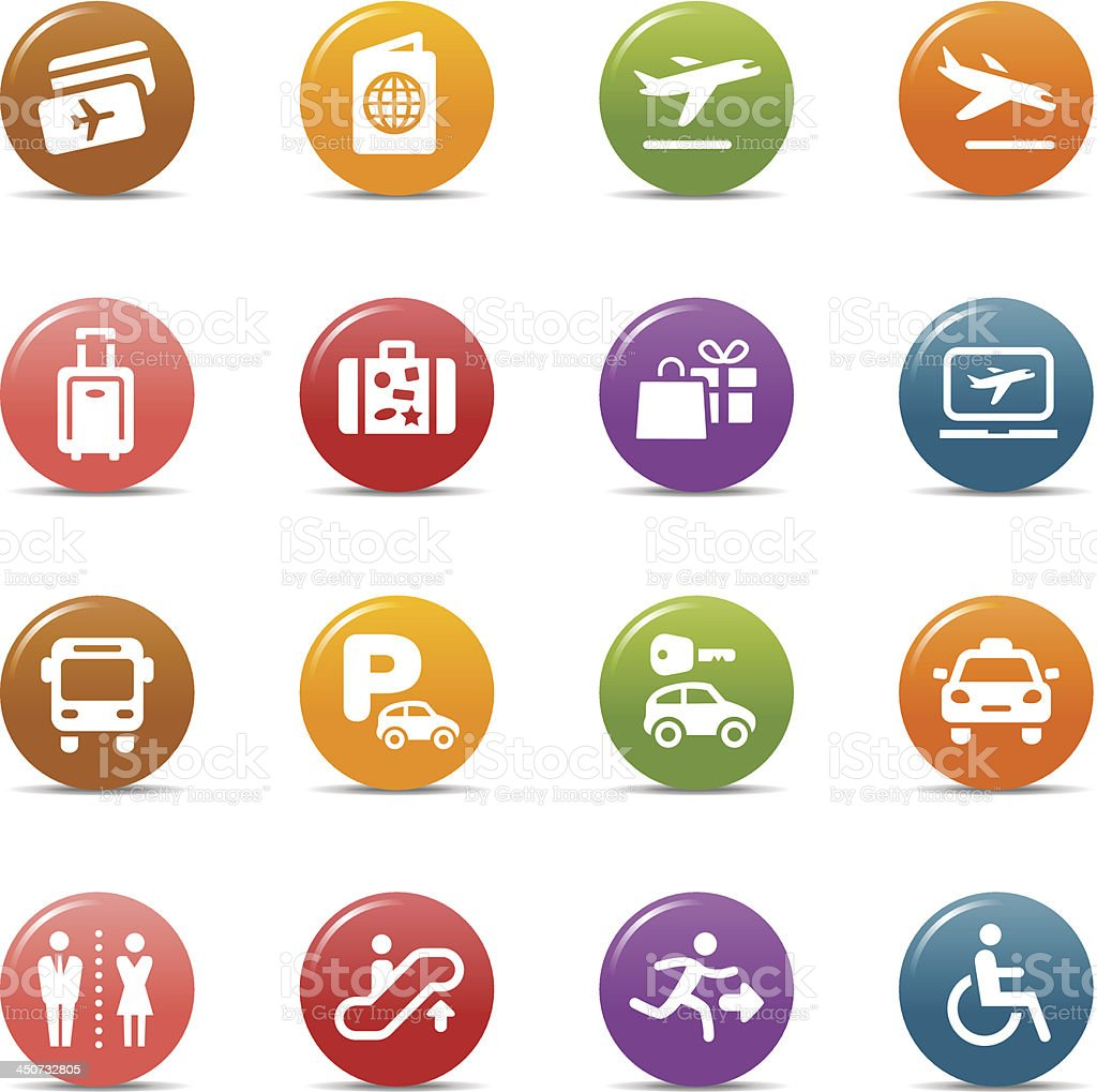 Colored Dots - Airport and Travel icons royalty-free stock vector art