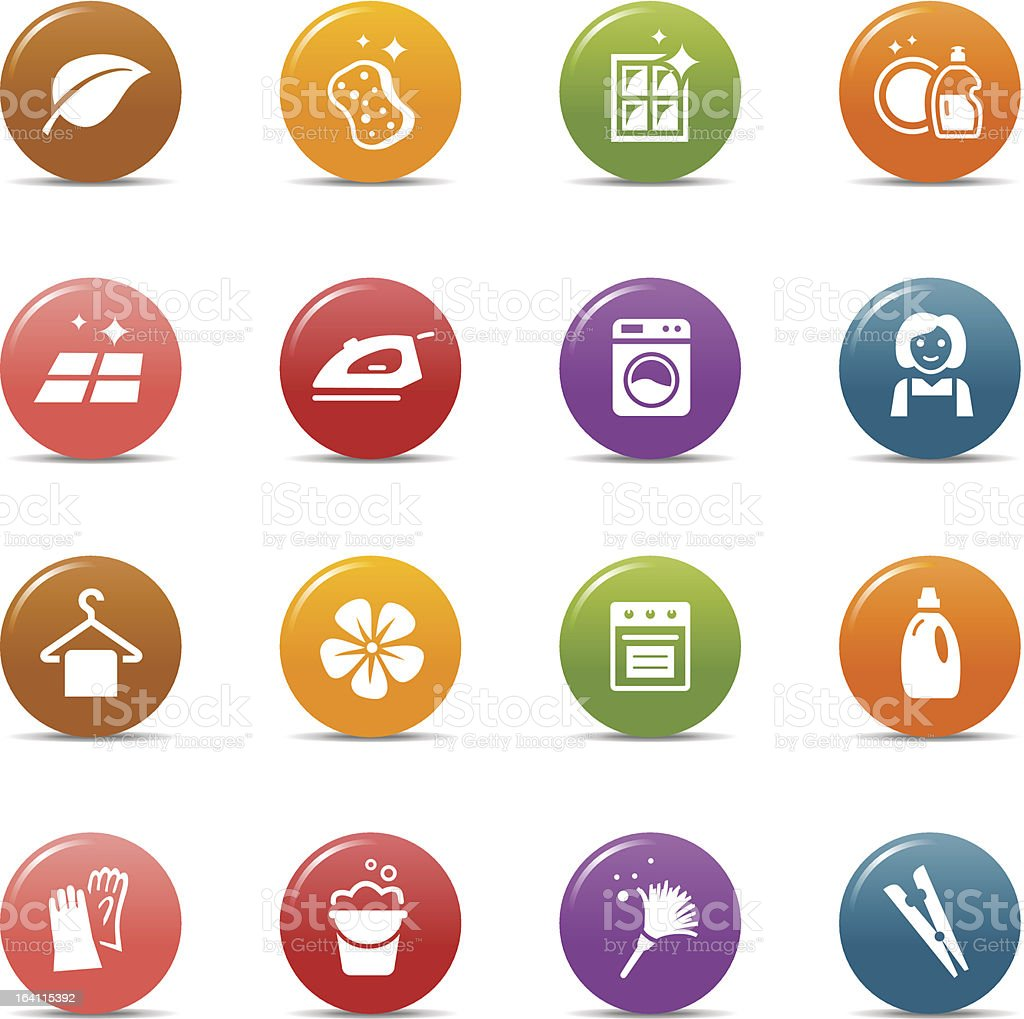 Colored Dots -  Cleaning and Household icons royalty-free stock vector art