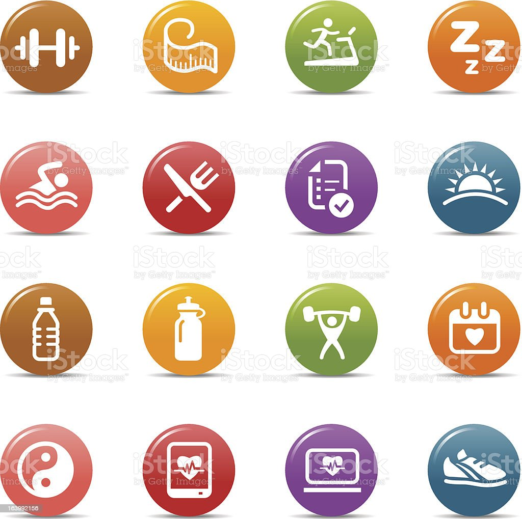 Colored Dots - Health and Fitness icons vector art illustration