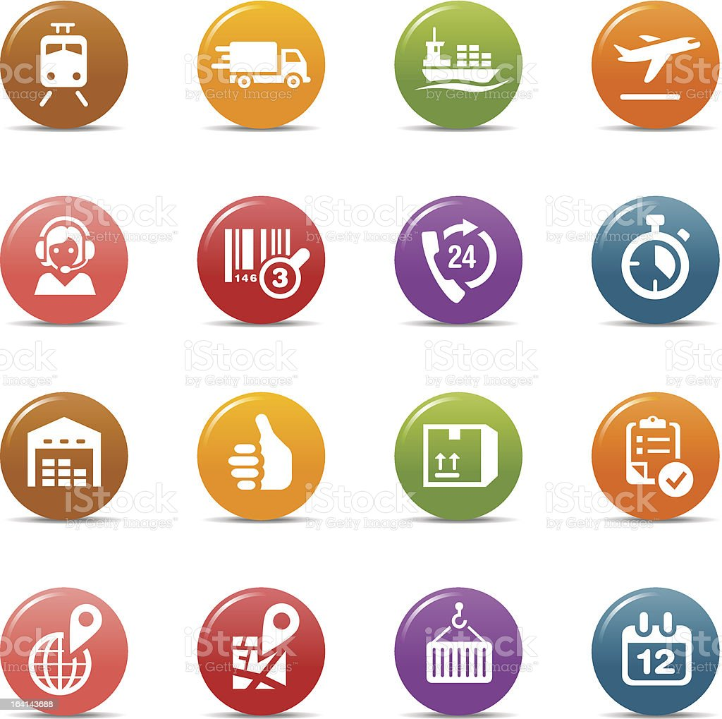 Colored Dots - Logistic and Shipping icons vector art illustration