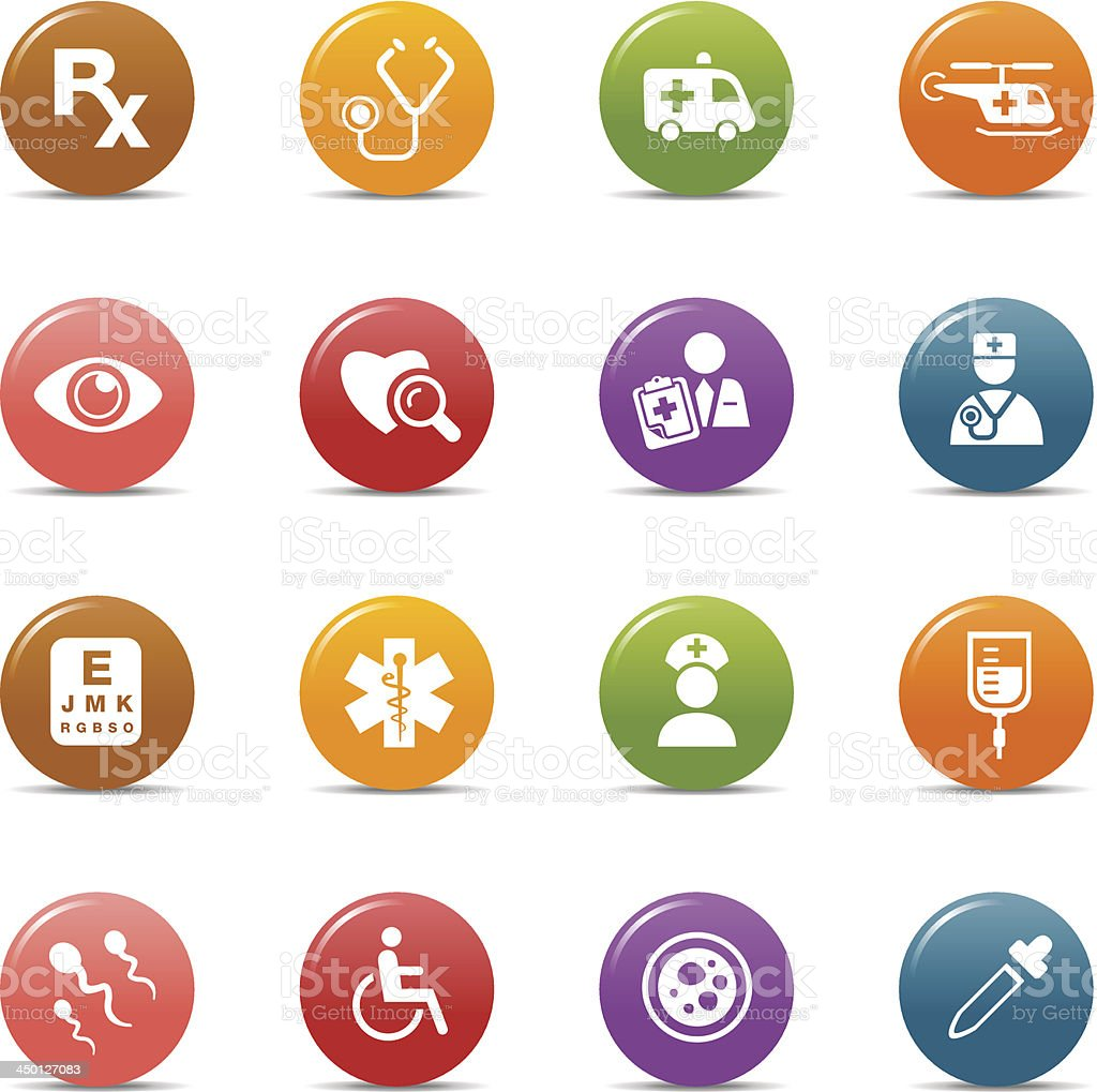 Colored Dots - Medical and Healthcare Icons royalty-free stock vector art