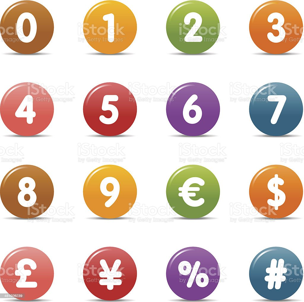 Colored Dots - Numbers & Currency icons vector art illustration