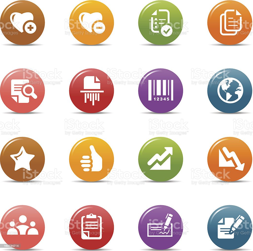 Colored Dots - Office and Business Icons vector art illustration