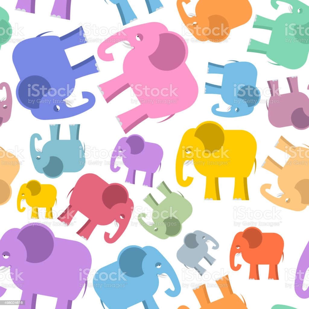 Colored elephant seamless pattern. Cute animals background vector art illustration
