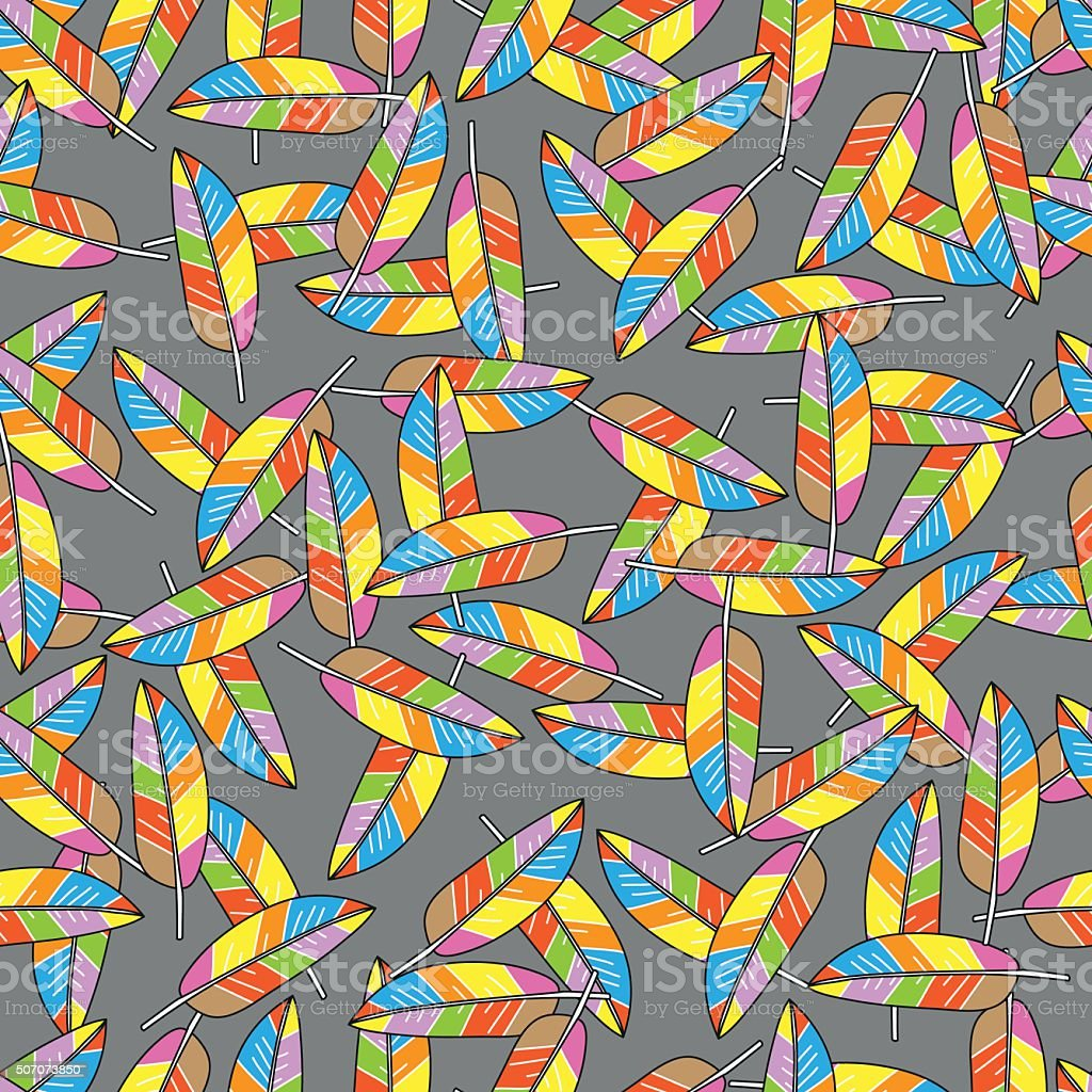 Colored feathers abstract seamless pattern on grey background. vector art illustration