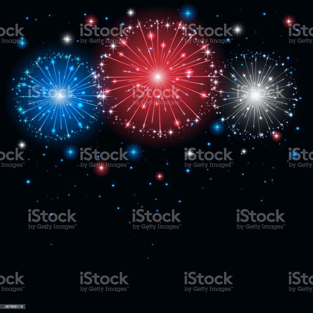 Colored firework vector art illustration