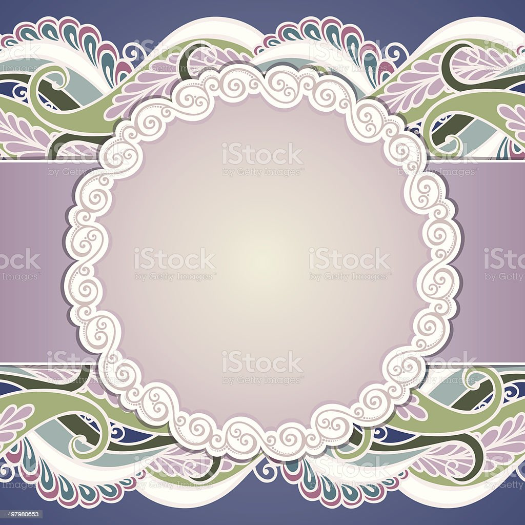 Colored Floral Layout with Leaves vector art illustration