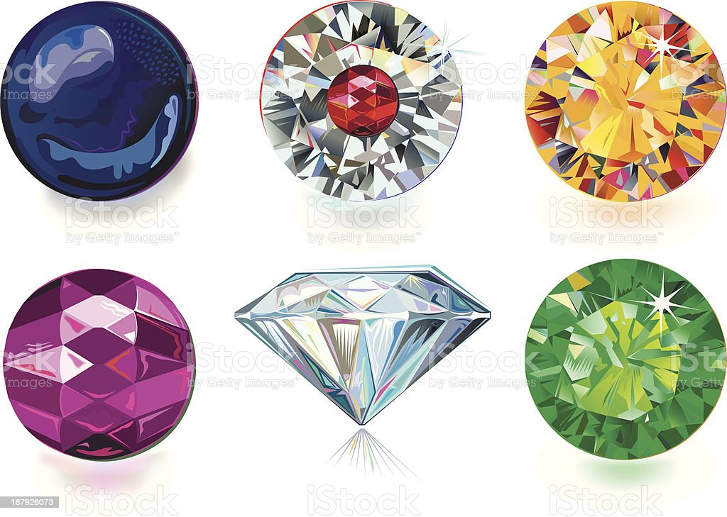 Colored gems royalty-free stock vector art