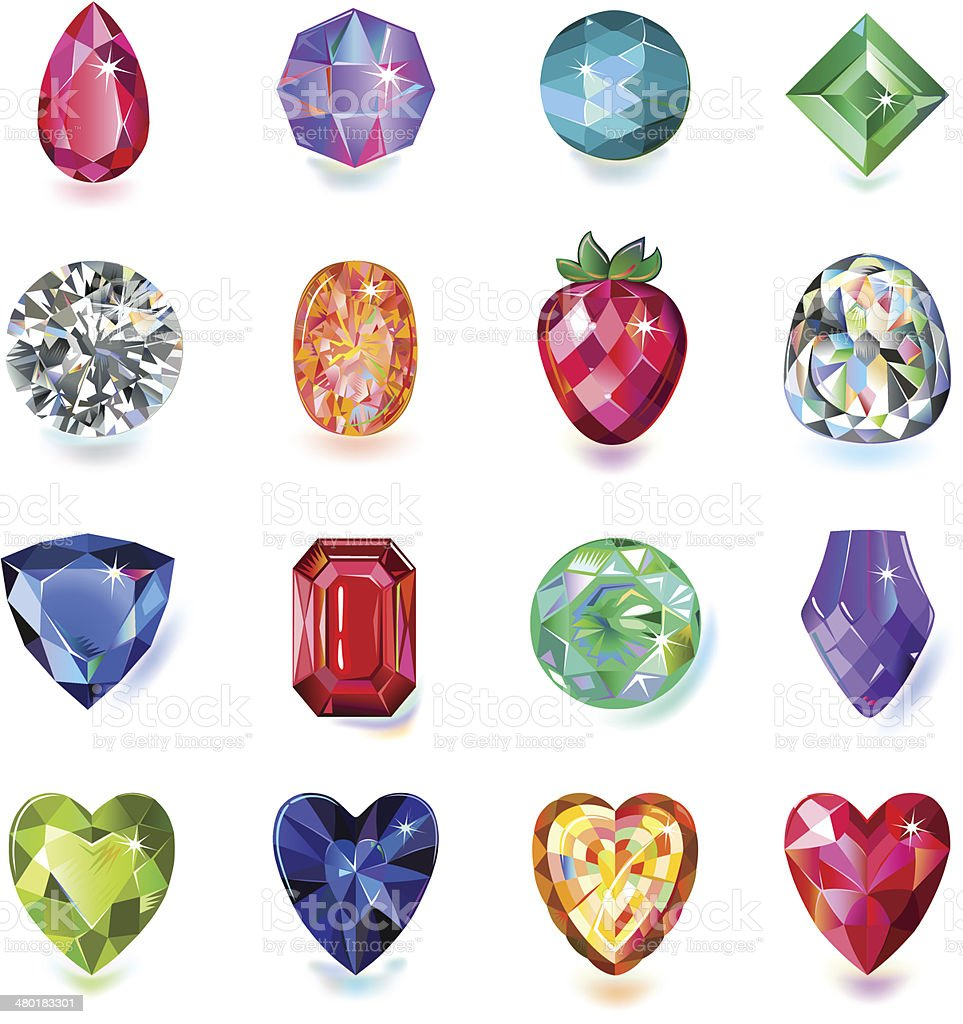 Colored gems vector art illustration