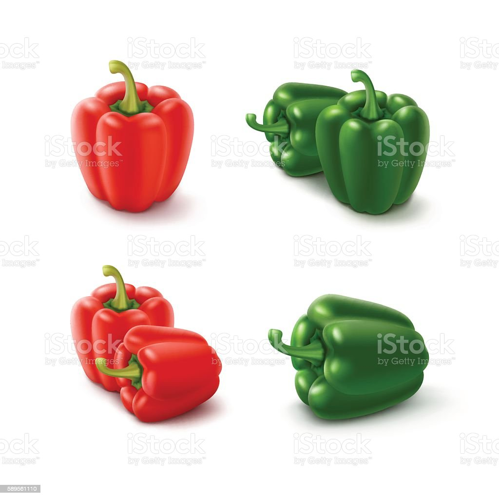 Colored Green and Red Sweet Bell Peppers vector art illustration