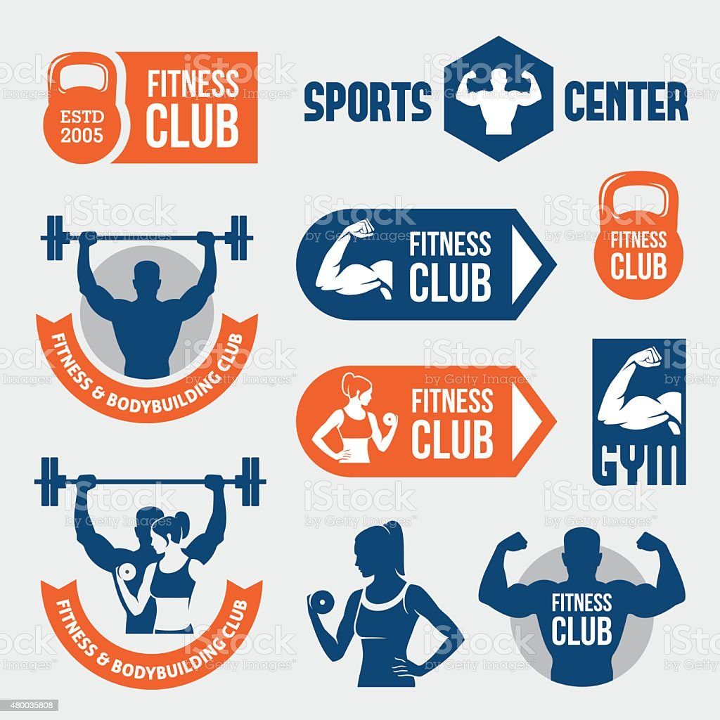 Colored gym labels vector art illustration
