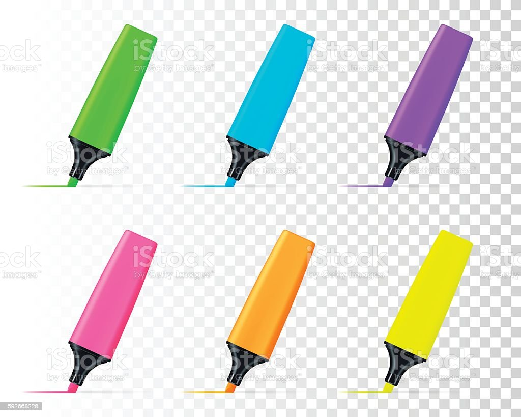 Colored highlighters set isolated on blank background vector art illustration
