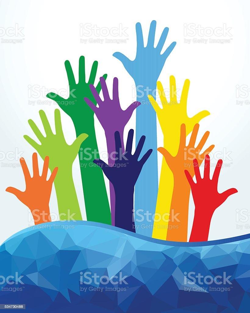 Colored Human Hands vector art illustration